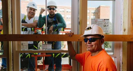 Construction workers at Gateway North in Lynn; photo by Mike Ritter